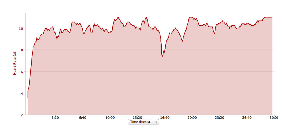 Marlow Santa Fun Run Hearth Rate chart.
